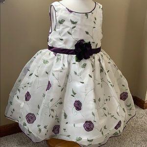 Little girls dress size 4 (white purple and green)